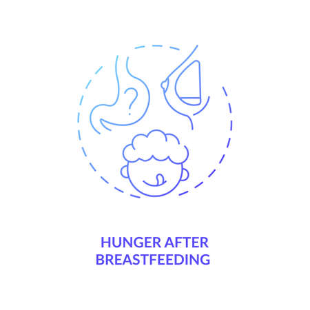 Hunger after breastfeeding concept icon. Introducing baby food requirements. Giving more healthy meals. Organic nutriton idea thin line illustration. Vector isolated outline RGB color drawing Иллюстрация