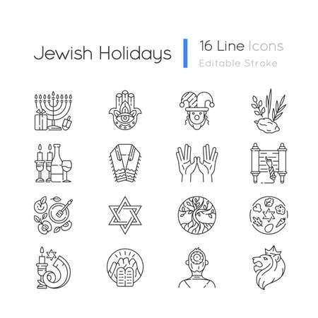 Jewish holidays linear icons set. Holy symbolism. Purim, hanukkah, shavuot, shabbat. Hebrew Bible. Customizable thin line contour symbols. Isolated vector outline illustrations. Editable stroke