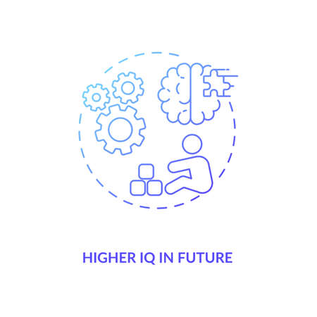 Higher IQ in future concept icon. Breastfeeding pros. Reasoning and problem solving abilities of children. Smart baby idea thin line illustration. Vector isolated outline RGB color drawing Ilustrace
