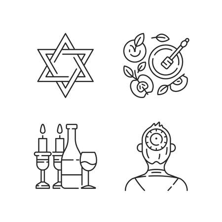 Jewish symbolism linear icons set. David star. Apples and honey pot. Kosher wine. Kippah, yarmulke. Customizable thin line contour symbols. Isolated vector outline illustrations. Editable stroke