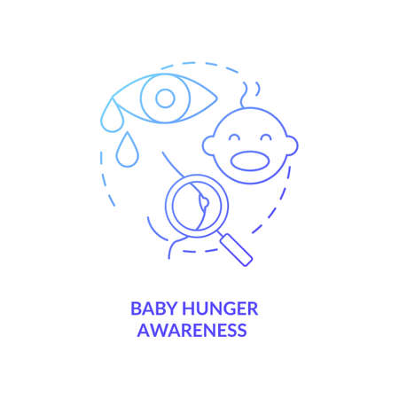 Baby hunger awareness concept icon. Breastfeeding tips. Children crying for milk feading. Newborns want to drink milk idea thin line illustration. Vector isolated outline RGB color drawing Иллюстрация