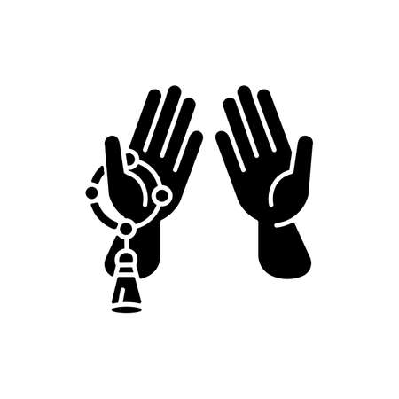 Praying hand black glyph icon. Talking to god signs. Different religious rituals. Beeing thankful for everything you have. Silhouette symbol on white space. Vector isolated illustration