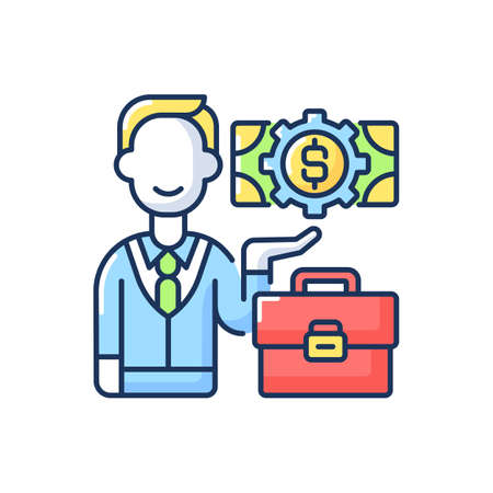 Businessman RGB color icon. Successful entrepreneur, company employee. Bank manager, professional financier, business investor. Isolated vector illustration