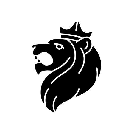 Judah Lion black glyph icon. Jewish national and cultural symbol. Strength, kingship, pride sign. Jewish and Christian mysticism. Silhouette symbol on white space. Vector isolated illustration