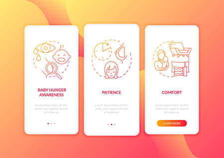 Breastfeeding tips onboarding mobile app page screen with concepts. Comfort place to give food to child walkthrough 3 steps graphic instructions. UI vector template with RGB color illustrations