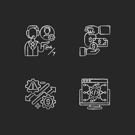 Business development and support chalk white icons set on black background. Customer services, financial management, business risks and IT industry. Isolated vector chalkboard illustrations