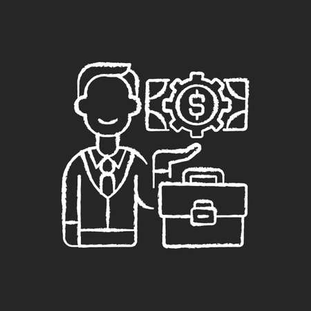 Businessman chalk white icon on black background. Successful entrepreneur, company employee. Bank manager, professional financier, business investor. Isolated vector chalkboard illustration