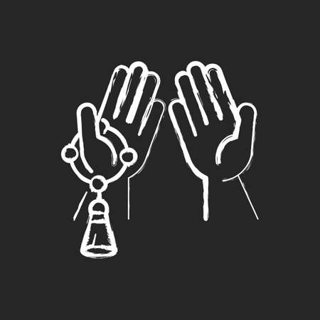 Praying hand chalk white icon on black background. Talking to god signs. Different religious rituals. Beeing thankful for everything you have. Isolated vector chalkboard illustration