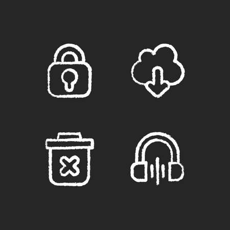 Modern interface chalk white icons set on black background. Downloading information from remote cloud server. Music listening. Blocking different functions. Isolated vector chalkboard illustrations