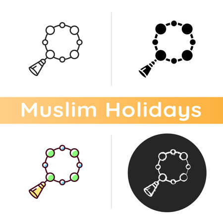 Rosary icon. Muslim religious item. National misbaha. Beads represents names. Used to keep count while saying prayer. Linear black and RGB color styles. Isolated vector illustrations