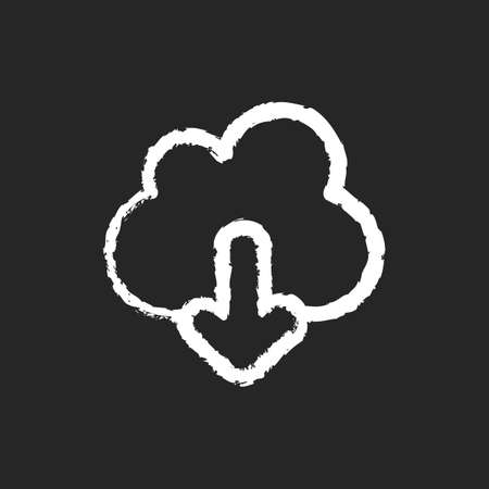 Download chalk white icon on black background. Getting your personal information from remote cloud storage. Mobile interface element, ui icon. Isolated vector chalkboard illustration