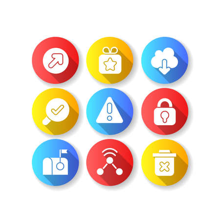 Interface for better usability flat design long shadow glyph icons set. Blocking delete functionality on your smartphone. Downloading big data files. Silhouette RGB color illustration