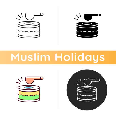 Drums icon. Ramadan music instrument. Waking up all people before dusk to eat food. Special daytime musician. Linear black and RGB color styles. Isolated vector illustrations