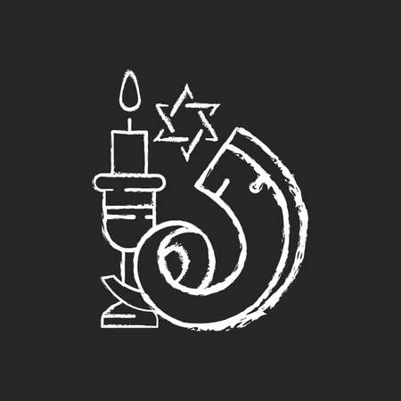 Shofar chalk white icon on black background. Ancient musical horn. Shophar. Ram horn. Jewish public and religious occasions. Ritual musical instrument. Isolated vector chalkboard illustration