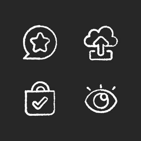 Interface for better usability chalk white icons set on black background. Blocking delete functionality on your smartphone. Downloading big data files. Isolated vector chalkboard illustrations