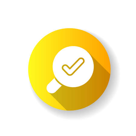 Search yellow flat design long shadow glyph icon. Finding different data using keywords. Help user to navigate within different content in applcation. Silhouette RGB color illustration