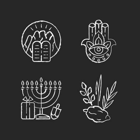 Judaism beliefs chalk white icons set on black background. Stone Tablets. Hamsa Hand. Nine-branched menorah. Four species. Ten Commandments at Mount Sinai. Isolated vector chalkboard illustrations