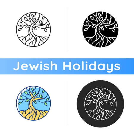Life tree icon. Metaphor for Torah. Earth and heaven connection. Hebrew creation myth. Eden Garden. Sacred tree. Immortality. Linear black and RGB color styles. Isolated vector illustrations