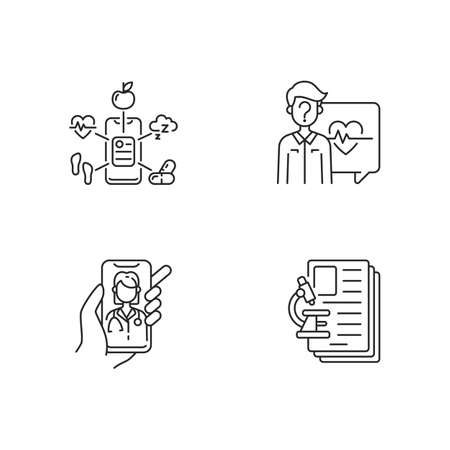Healthcare service linear icons set. Health data collection. Anonymous question. Video appointment. Customizable thin line contour symbols. Isolated vector outline illustrations. Editable stroke