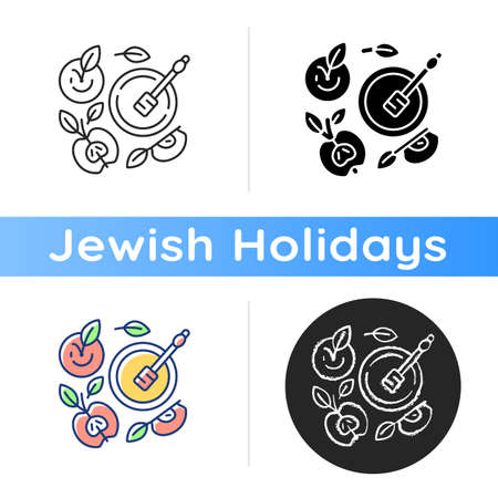 Apples and honey pot icon. Traditional celebratory dish. Rosh Hashanah traditions. Jewish New Year Day. Festive meal. Linear black and RGB color styles. Isolated vector illustrations