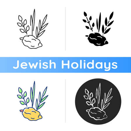 Four species icon. Jewish holiday. Etrog, lulav, hadas, arava. Sukkot week-long festival. Symbolic meaning. Citron tree fruit. Linear black and RGB color styles. Isolated vector illustrations