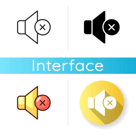 Silent mode setting icon. Sounds control. Silence notifications, calls and messages. Ringtones, vibrating alerts and alarm disabling. Linear black and RGB color styles. Isolated vector illustrations