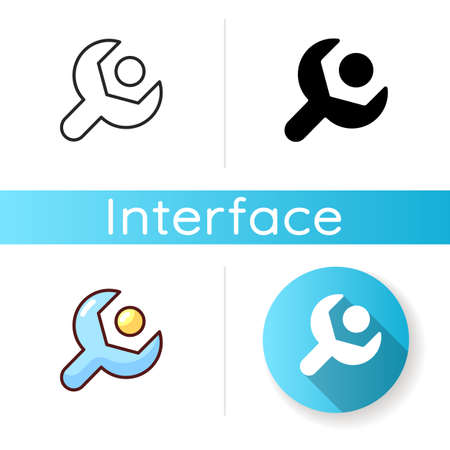 Setup icon. Settings menu. Setup-and-configuration process. System update. Phone personalization. Language selecting. Linear black and RGB color styles. Isolated vector illustrations