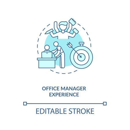Office manager experience turquoise concept icon. Employee ability. Remote work. Virtual assistant skill idea thin line illustration. Vector isolated outline RGB color drawing. Editable stroke