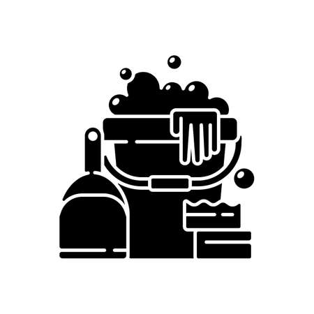 Cleaning tools black glyph icon. Cleaner tools, housekeeping supplies silhouette symbol on white space. Professional janitorial service. Mop, bucket and detergent. Vector isolated illustration