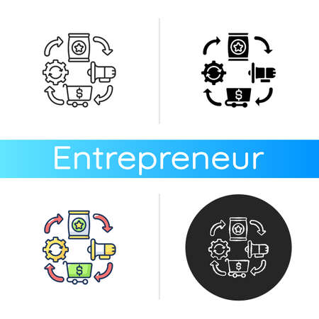 Logistics icon. Linear black and RGB color styles. Entrepreneurship organization, effective production, promotion and trading process. Business management. Isolated vector illustrations