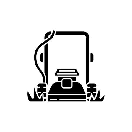 Lawn mowing black glyph icon. Suburban housekeeping chore silhouette symbol on white space. Professional grass trimming, landscaping service. Electric lawnmower. Vector isolated illustration Vektorgrafik