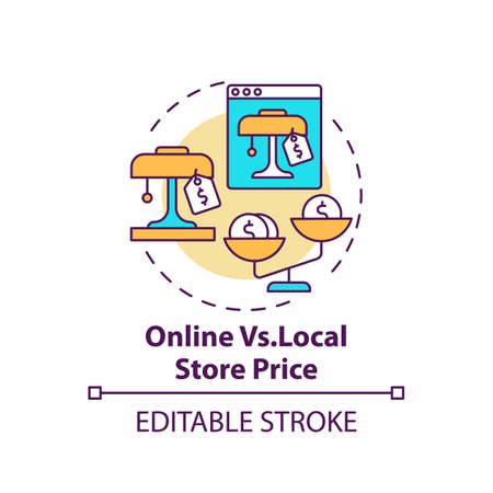 Online vs. local store price concept icon. Informed customer tip idea thin line illustration. Exclusive sales and discounts on websites. Vector isolated outline RGB color drawing. Editable stroke