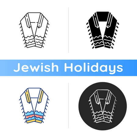 Tallit and tzitzit icon. Jewish prayer shawl. Fringes in garments corner. Holy symbolism. Four-cornered shawl. Religious ceremonies. Linear black and RGB color styles. Isolated vector illustrations Vektorové ilustrace