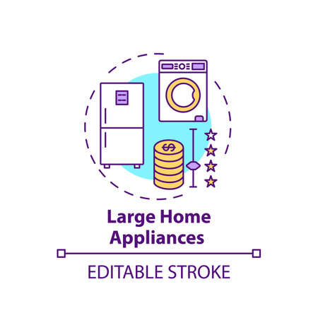 Large home appliances concept icon. Spending more for high quality product idea thin line illustration. Equipment for kitchen and home. Vector isolated outline RGB color drawing. Editable stroke  イラスト・ベクター素材