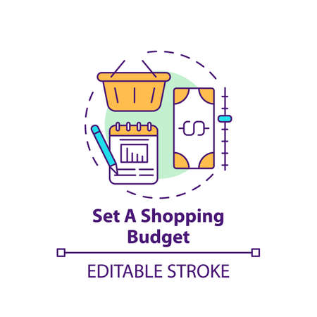 Setting shopping budget concept icon. Shopping tip idea thin line illustration. Tracking money spending for month. Avoiding impulse buying. Vector isolated outline RGB color drawing. Editable stroke