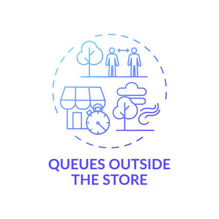Queues outside store concept icon. Safe shopping during Covid tip idea thin line illustration. Limiting customers number. Keeping physical distance. Vector isolated outline RGB color drawing Vettoriali