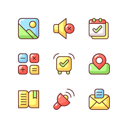 Smartphone interface RGB color icons set. Photo gallery. Silent mode setting. Calendar. Alarm clock. Performing calculations. Real-time location. Book reader. Isolated vector illustrations