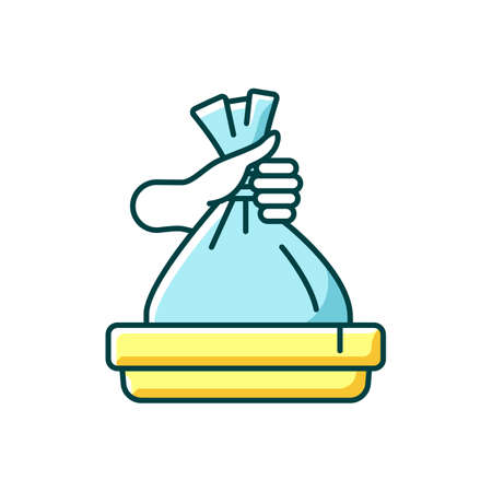 Taking out trash RGB color icon. Waste management, domestic chores. Housekeeping duties, garbage utilization. Throwing away plastic bag. Isolated vector illustration