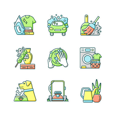 Cleaning chores RGB color icons set. Housekeeping tasks. Housemaid services, housewife duties. Different work around the house. Isolated vector illustrations