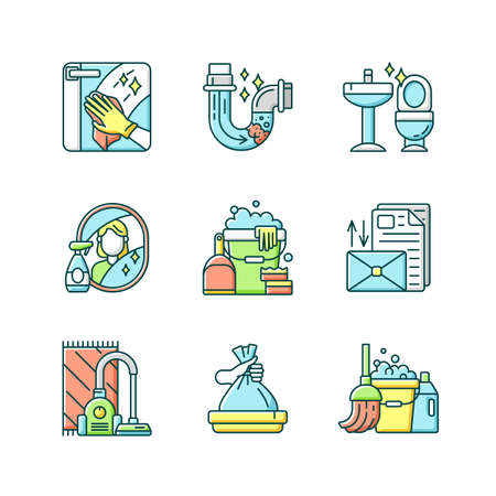Housekeeping chores RGB color icons set. Professional cleaning and plumbing service. Domestic responsibilities, work around the house. Isolated vector illustrations