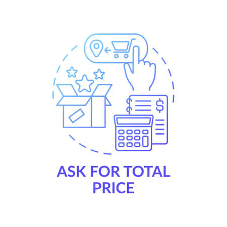Asking for total price concept icon. Online shopping tip idea thin line illustration. Overspending risk for customers. Ecommerce stores. Full cost disclosure. Vector isolated outline RGB color drawing