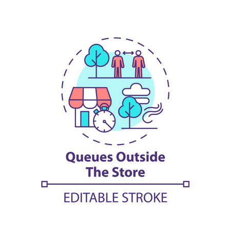 Queues outside store concept icon. Safe shopping during Covid tip idea thin line illustration. Social distancing at supermarket. Vector isolated outline RGB color drawing. Editable stroke Vettoriali