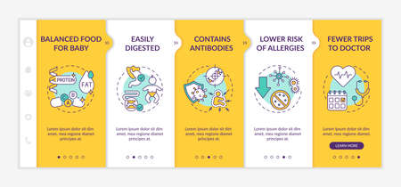 Breastfeeding benefits onboarding vector template. Balanced food for baby. Easily digested. Responsive mobile website with icons. Webpage walkthrough step screens. RGB color concept