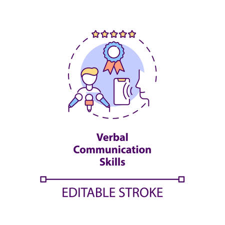 Verbal communication skills concept icon. Business networking. Leader eloquence. Virtual assistant idea thin line illustration. Vector isolated outline RGB color drawing. Editable stroke 일러스트