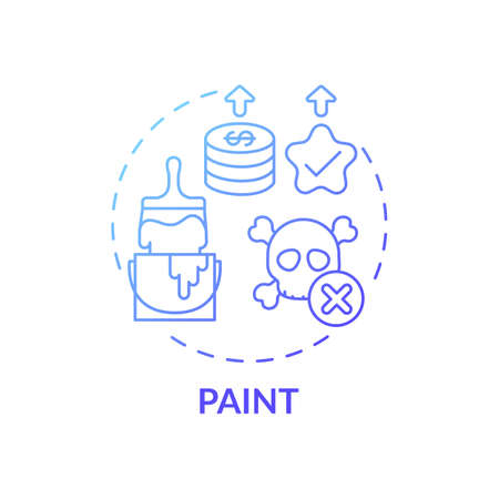 Paint concept icon. Spending more for high quality product idea thin line illustration. Coverage, color consistency and long-term value. Eco-friendly paints. Vector isolated outline RGB color drawing  イラスト・ベクター素材