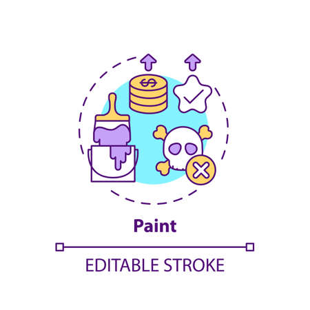 Paint concept icon. Spending more for high quality product idea thin line illustration. Coverage, color consistency and long-term value. Vector isolated outline RGB color drawing. Editable stroke  イラスト・ベクター素材