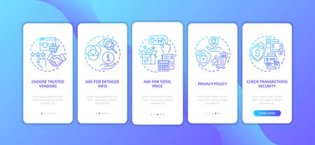 Online shopping tips onboarding mobile app page screen with concepts. Total price, detailed info walkthrough 5 steps graphic instructions. UI vector template with RGB color illustrations