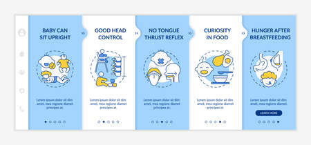 Introducing baby food requirements onboarding vector template. Baby can sit upright. Good head control. Responsive mobile website with icons. Webpage walkthrough step screens. RGB color concept