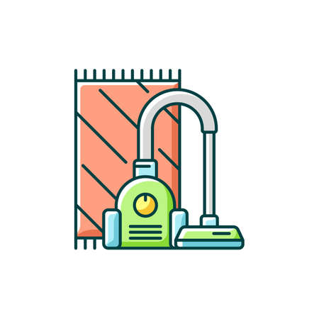 Vacuuming RGB color icon. Electronic household appliance for convenient home cleaning. Housekeeping chore. Modern vacuum cleaner. Isolated vector illustration