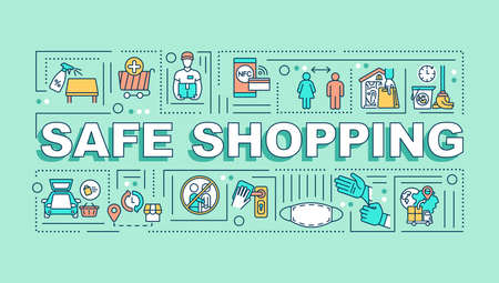 Safe shopping word concepts banner. Consumer protection. Commercial service. Infographics with linear icons on mint green background. Isolated typography. Vector outline RGB color illustration